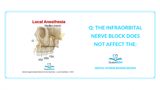 local anesthesia, infraorbital nerve block, dental hygiene exam prep