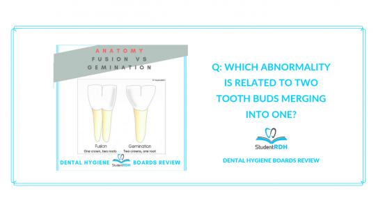 dental anatomy, fusion, gemination, dental hygiene board exam
