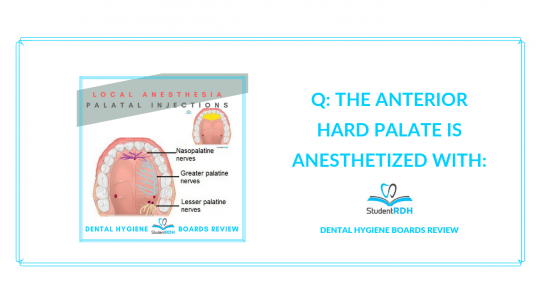 local anesthesia, palatal injections, anterior hard palate, dental hygiene review quiz